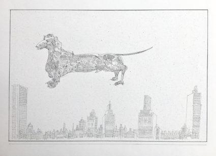 pen & ink, artwork 30 x 45 cm, paper 50 x 65 cm